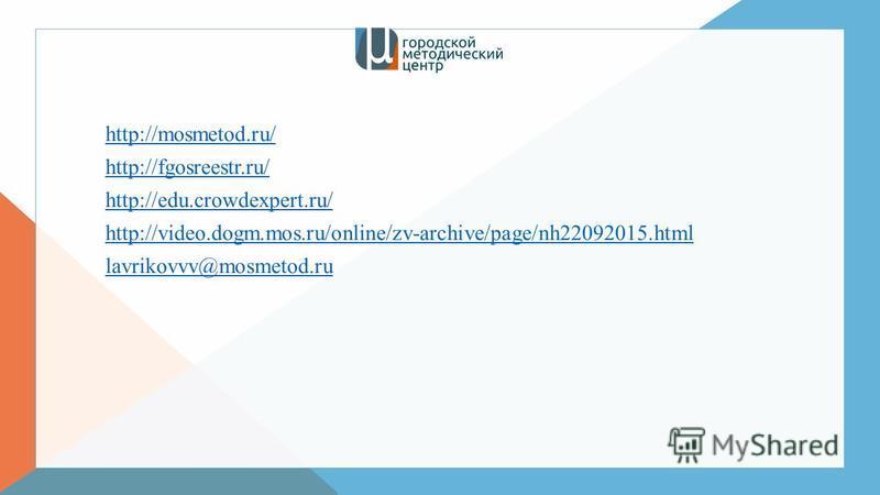 http://mosmetod.ru/ http://fgosreestr.ru/ http://edu.crowdexpert.ru/ http://video.dogm.mos.ru/online/zv-archive/page/nh22092015. html lavrikovvv@mosmetod.ru