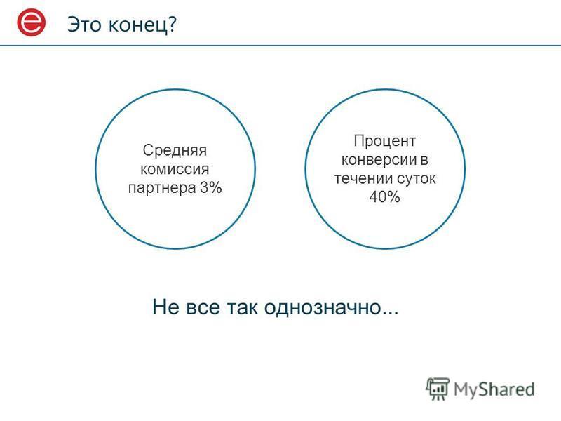 Это конец? Не все так однозначно... Средняя комиссия партнера 3% Процент конверсии в течении суток 40%