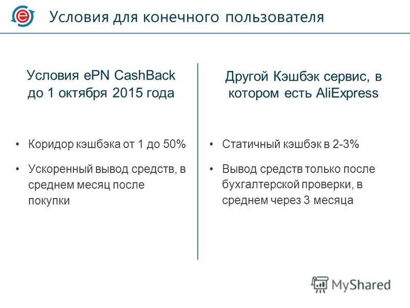 Условия для конечного пользователя Условия ePN CashBack до 1 октября 2015 года Коридор кэшбэка от 1 до 50% Ускоренный вывод средств, в среднем месяц после покупки Другой Кэшбэк сервис, в котором есть AliExpress Статичный кэшбэк в 2-3% Вывод средств т