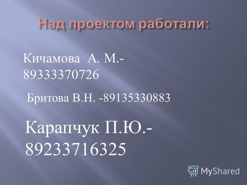 Кичамова А. М.- 89333370726 Бритова В. Н. -89135330883 Карапчук П. Ю.- 89233716325