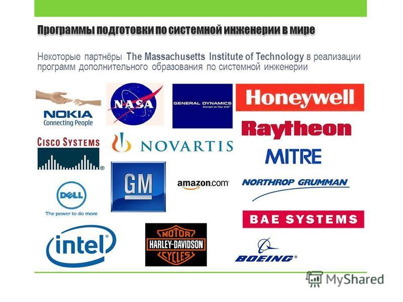 Программы подготовки по системной инженерии в мире Некоторые партнёры The Massachusetts Institute of Technology в реализации программ дополнительного образования по системной инженерии