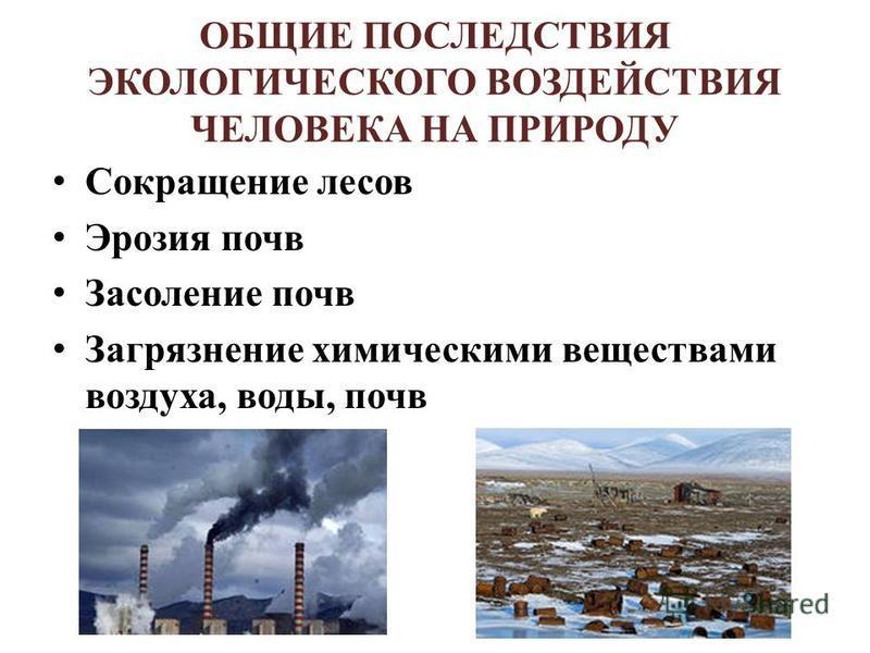 ОБЩИЕ ПОСЛЕДСТВИЯ ЭКОЛОГИЧЕСКОГО ВОЗДЕЙСТВИЯ ЧЕЛОВЕКА НА ПРИРОДУ Сокращение лесов Эрозия почв Засоление почв Загрязнение химическими веществами воздуха, воды, почв
