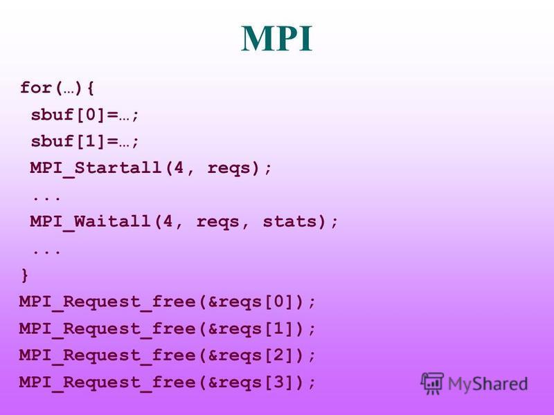 MPI for(…){ sbuf[0]=…; sbuf[1]=…; MPI_Startall(4, reqs);... MPI_Waitall(4, reqs, stats);... } MPI_Request_free(&reqs[0]); MPI_Request_free(&reqs[1]); MPI_Request_free(&reqs[2]); MPI_Request_free(&reqs[3]);