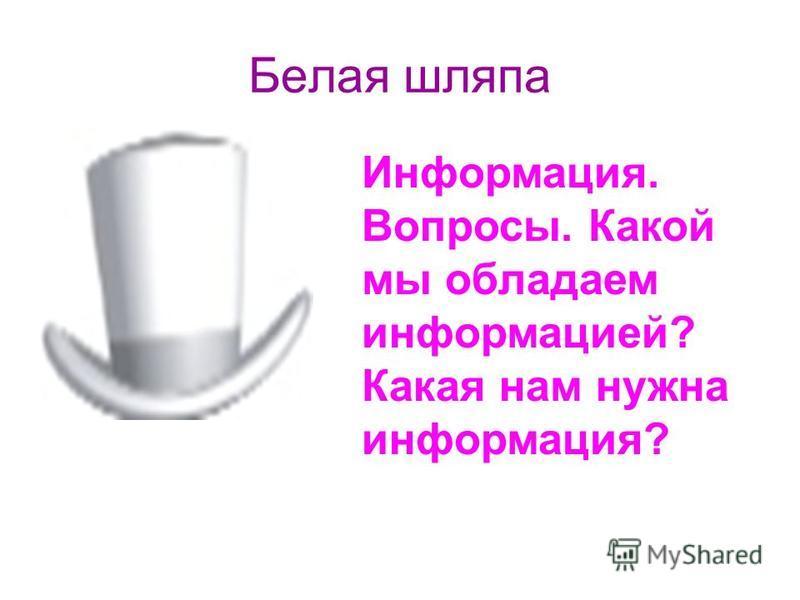 Белая шляпа Информация. Вопросы. Какой мы обладаем информацией? Какая нам нужна информация?