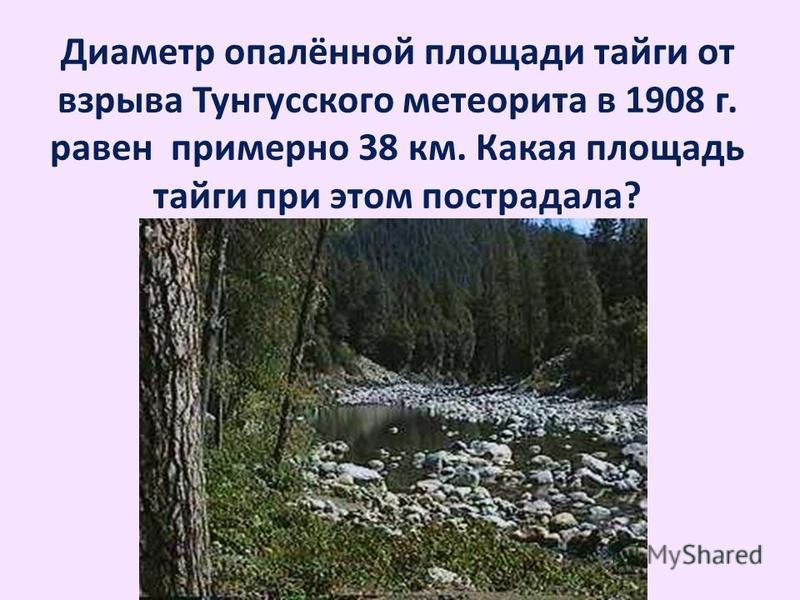 Диаметр опалённой площади тайги от взрыва Тунгусского метеорита в 1908 г. равен примерно 38 км. Какая площадь тайги при этом пострадала?