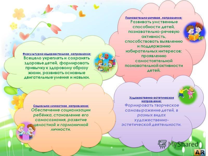 Познавательно-речевое направление: Развивать умственные способности детей, познавательно-речевую активность, способствовать выявлению и поддержанию избирательных интересов; проявлению самостоятельной познавательной активности детей. Физкультурно-оздо
