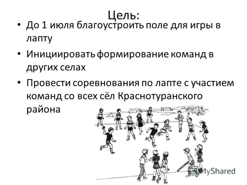 Цель: До 1 июля благоустроить поле для игры в лапту Инициировать формирование команд в других селах Провести соревнования по лапте с участием команд со всех сёл Краснотуранского района