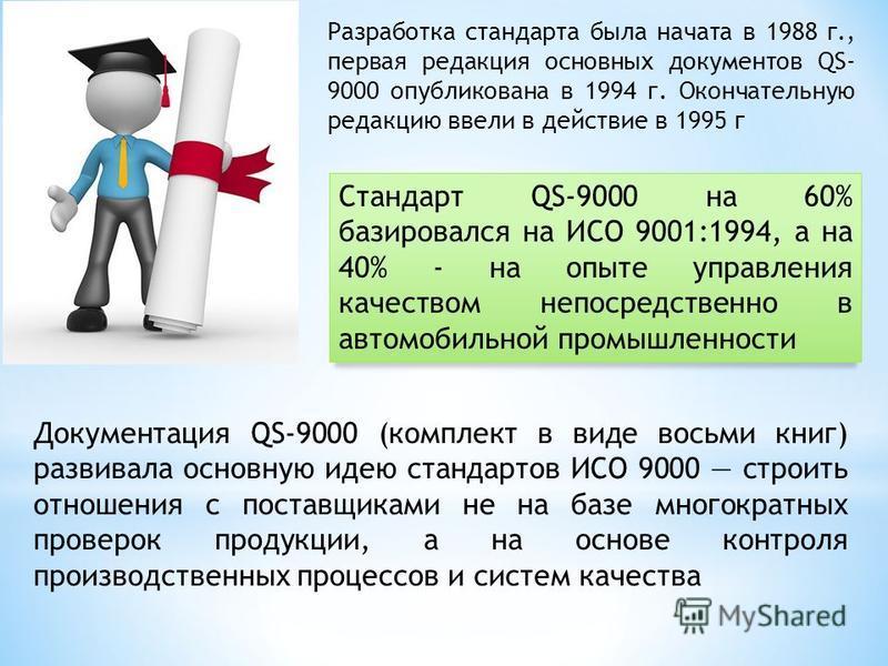 Разработка стандарта была начата в 1988 г., первая редакция основных документов QS- 9000 опубликована в 1994 г. Окончательную редакцию ввели в действие в 1995 г Стандарт QS-9000 на 60% базировался на ИСО 9001:1994, а на 40% - на опыте управления каче