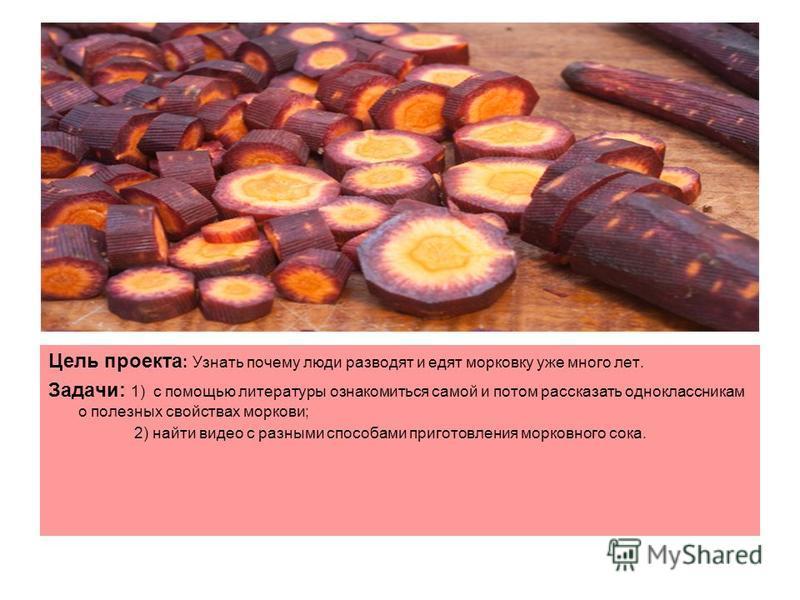 Цель проекта : Узнать почему люди разводят и едят морковку уже много лет. Задачи: 1) с помощью литературы ознакомиться самой и потом рассказать одноклассникам о полезных свойствах моркови; 2) найти видео с разными способами приготовления морковного с