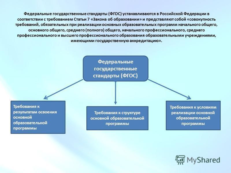 Федеральные государственные стандарты (ФГОС) устанавливаются в Российской Федерации в соответствии с требованием Статьи 7 «Закона об образовании» и представляют собой «совокупность требований, обязательных при реализации основных образовательных прог