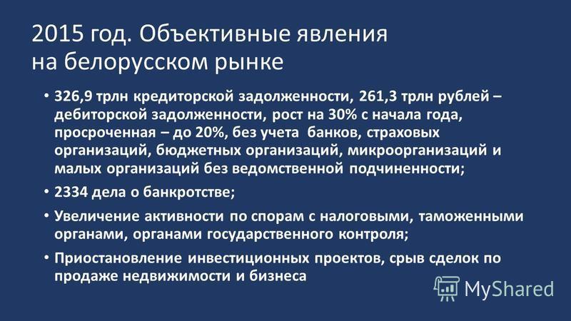 2015 год. Объективные явления на белорусском рынке 326,9 трлн кредиторской задолженности, 261,3 трлн рублей – дебиторской задолженности, рост на 30% с начала года, просроченная – до 20%, без учета банков, страховых организаций, бюджетных организаций,