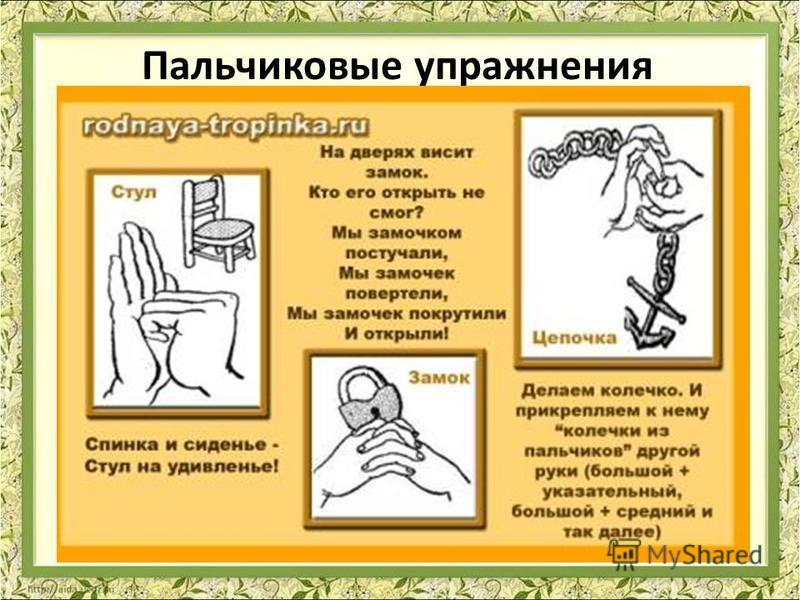 Пальчиковые упражнения