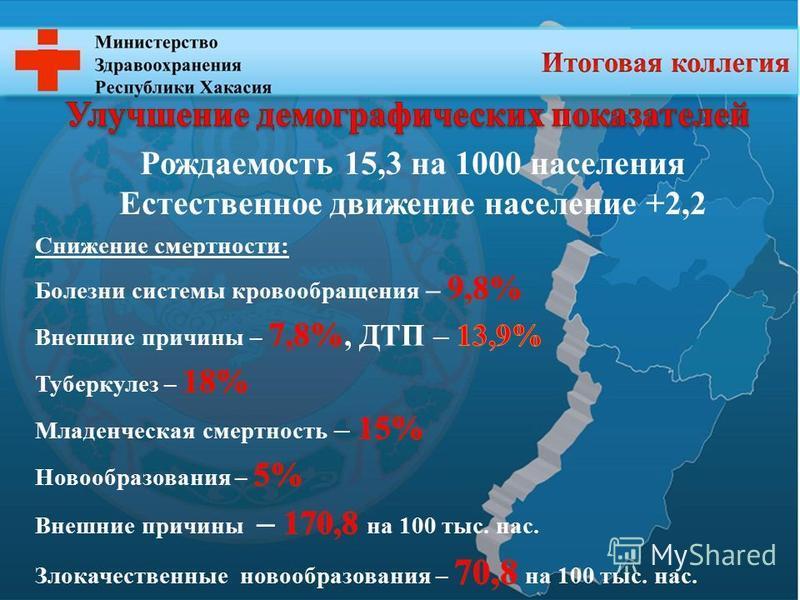 Рождаемость 15,3 на 1000 населения Естественное движение население +2,2