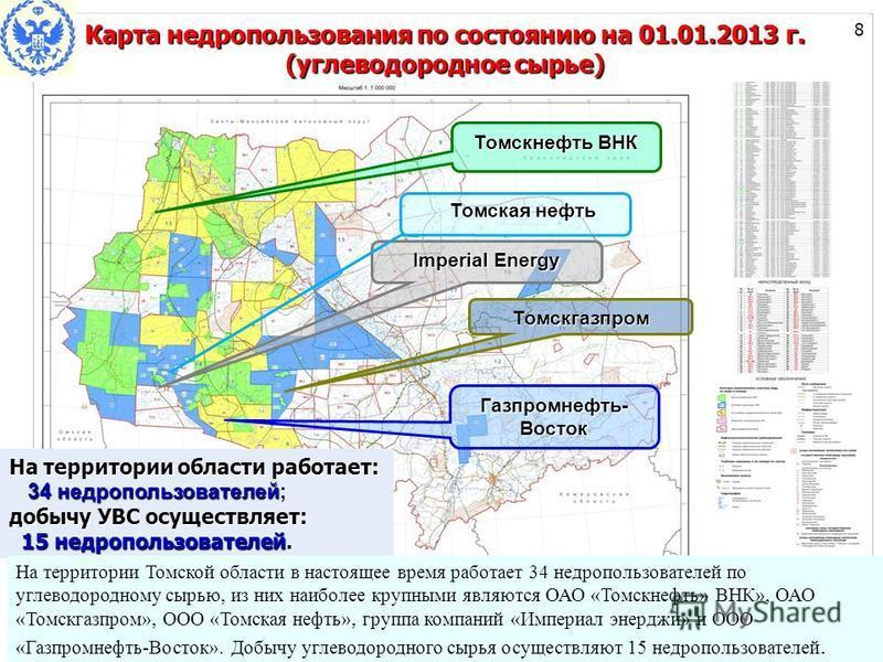 Imperial Energy Томскгазпром Газпромнефть- Восток Томскнефть ВНК На территории области работает: 34 недропользователей; 34 недропользователей; добычу УВС осуществляет: 15 недропользователей. 15 недропользователей. Томская нефть Томская нефть На терри