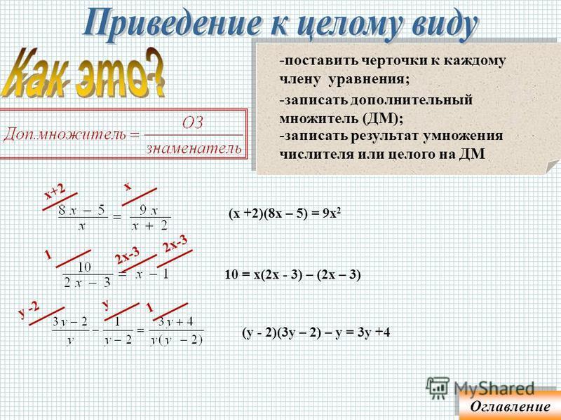 Домножить обе части уравнения так, чтобы знаменатели сократились Чтобы уравнение к целому виду, надо: -поставить черточки к каждому члену уравнения; -записать дополнительный множитель (ДМ); -записать результат умножения числителя или целого на ДМ Огл