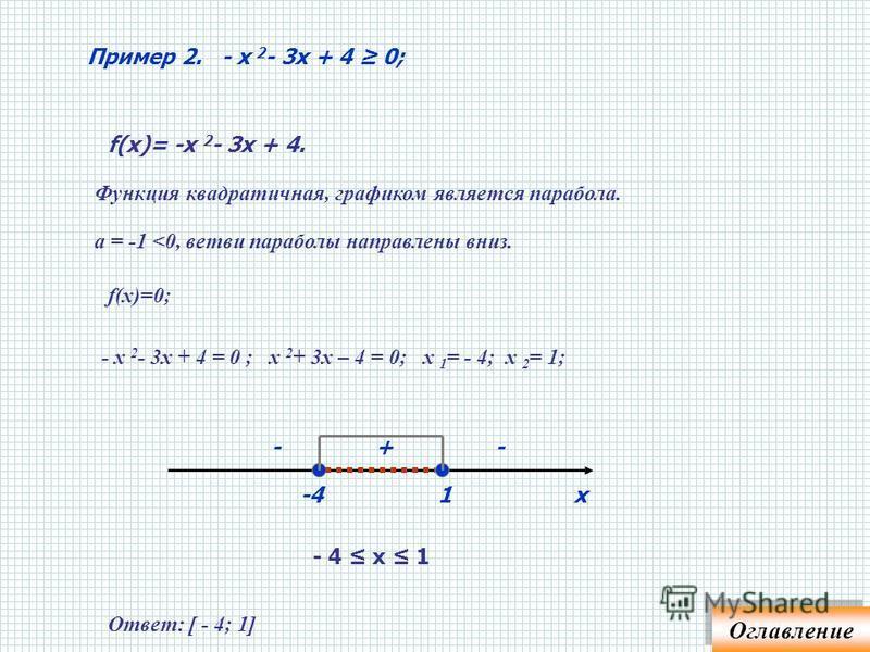 Пример 1. х 2 - 3 х + 2 > 0; Неравенство в стандартном виде. Неравенство в стандартном виде. f (х)=х 2 - 3 х + 2 – функция квадратичная, графиком является парабола; а=1 > 0 – ветви параболы направлены вверх; f(х)= 0 ; х 2 – 3 х + 2 = 0 ; х= 1; х= 2.