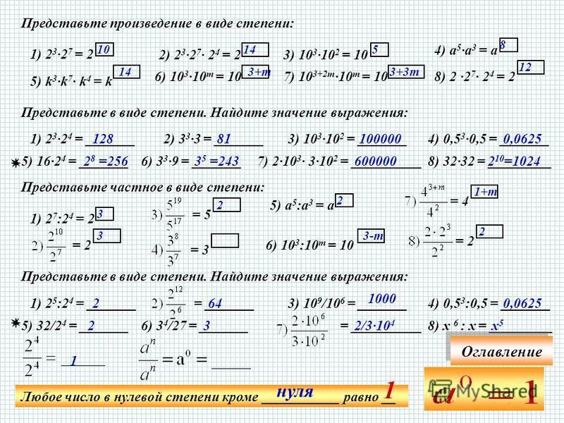 Представьте произведение в виде степени: 1) 2 3 ·2 7 = 2 2) 2 3 ·2 7 · 2 4 = 23) 10 3 ·10 2 = 10 4) а 5 ·а 3 = а 5) k 3 ·k 7 · k 4 = k 6) 10 3 ·10 т = 107) 10 3+2m ·10 т = 10 8) 2 ·2 7 · 2 4 = 2 Представьте в виде степени. Найдите значение выражения: