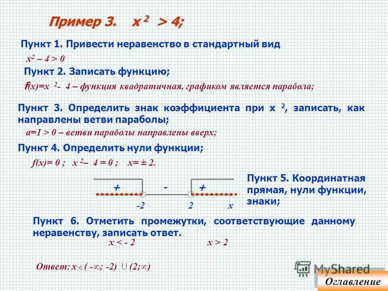 1. Перенести все в одну сторону, получив справа 0 2. Направление ветвей 3. Нули, координатная прямая, знаки: «+ - +» или «- + -»