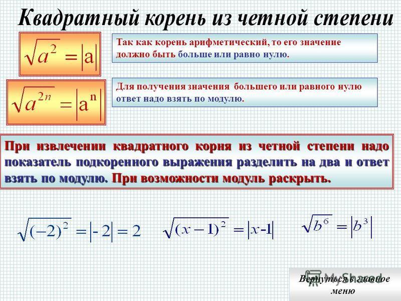 Подкоренное выражение должно быть больше или равно нулю Так как, то а 0 Извлечение квадратного корня из отрицательного числа не имеет смысла не имеют смысла Выражения не имеют смысла Вернуться в главное меню