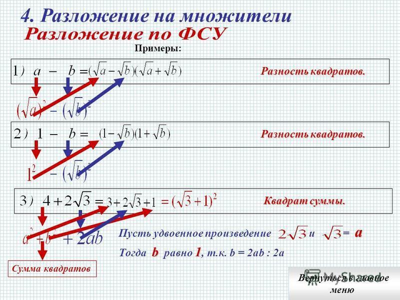 1. Общий множитель (ОМ) и открыть скобку; 2. В скобке – результат от деления слагаемого на ОМ Вернуться в главное меню