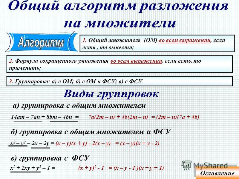 1. Разбить выражение на группы, содержащие ОМ; 3. Вынести общую скобку; 2. Вынести общий множитель из каждой группы; 4. Ответ привести в стандартный вид. 1)16ab 2 – 5b 2 c – 10c 3 + 32ac 2 = b 2 (16a – 5c)+ 2c 2 (16a – 5c)= (16a – 5c)(b 2 + 2c 2 )