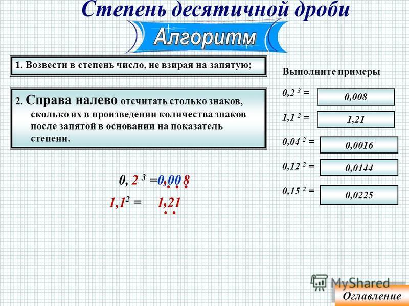 2. К результату приписать столько нулей, сколько их в основании, умноженном на показатель. 1. Возвести в степень число без нулей; Выполните примеры 20 3 = 150 2 = 400 2 = 360 2 = 110 2 = 12100 129600 160000 22500 8000 0 3 =80002 0 2 =2250015 Оглавлен