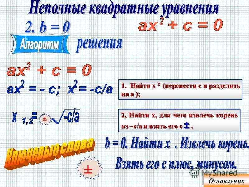 2. Разложить левую часть на множители (вынести х за скобку); 3. Решить уравнение вида произведение равно нулю 1. Привести уравнение в стандартный вид Оглавление
