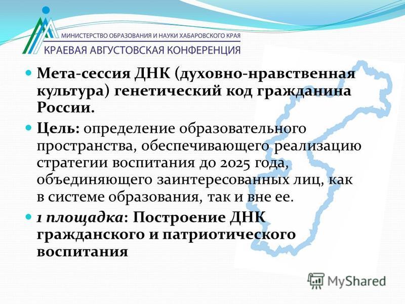 Мета-сессия ДНК (духовно-нравственная культура) генетический код гражданина России. Цель: определение образовательного пространства, обеспечивающего реализацию стратегии воспитания до 2025 года, объединяющего заинтересованных лиц, как в системе образ