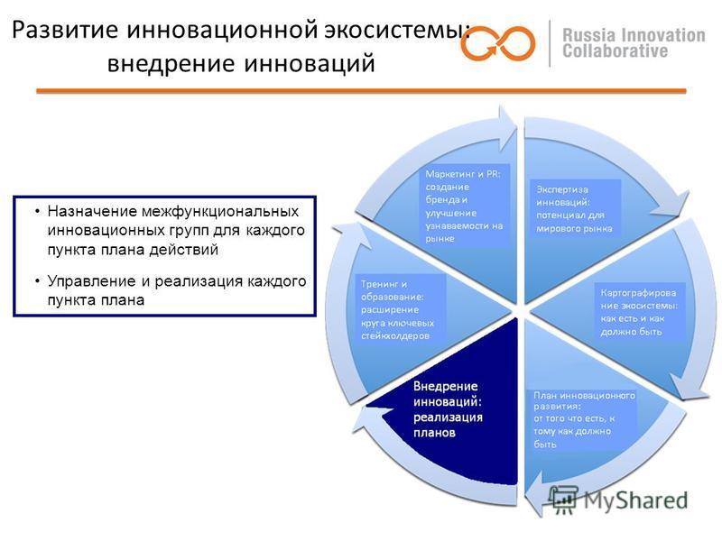 Развитие инновационной экосистемы: внедрение инноваций Назначение межфункциональных инновационных групп для каждого пункта плана действий Управление и реализация каждого пункта плана