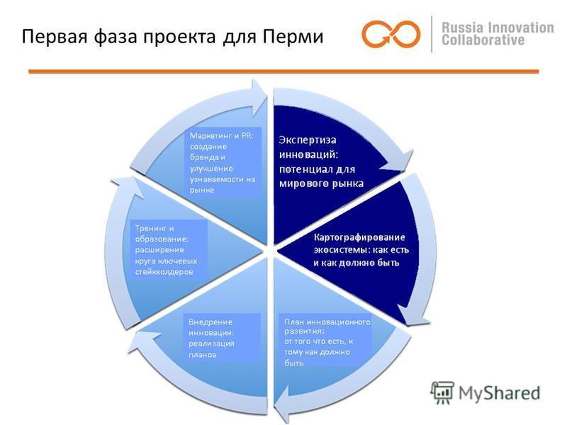 Первая фаза проекта для Перми Маркетинг и PR: создание бренда и улучшение узнаваемости на рынке Тренинг и образование: расширение круга ключевых стейкхолдеров Внедрение инновации: реализация планов План инновации: от того что есть, к тому как должно