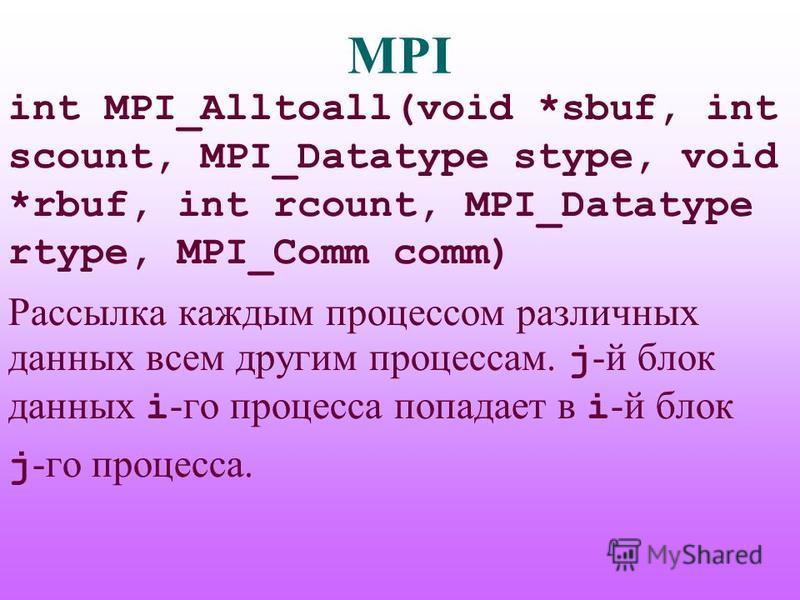 MPI int MPI_Alltoall(void *sbuf, int scount, MPI_Datatype stype, void *rbuf, int rcount, MPI_Datatype rtype, MPI_Comm comm) Рассылка каждым процессом различных данных всем другим процессам. j -й блок данных i -го процесса попадает в i -й блок j -го п