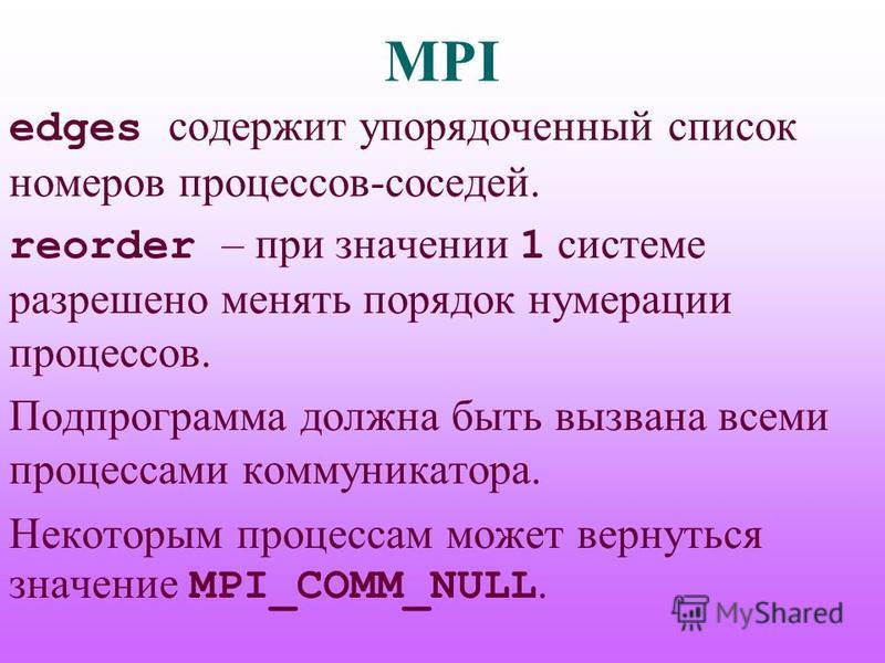MPI edges содержит упорядоченный список номеров процессов-соседей. reorder – при значении 1 системе разрешено менять порядок нумерации процессов. Подпрограмма должна быть вызвана всеми процессами коммуникатора. Некоторым процессам может вернуться зна