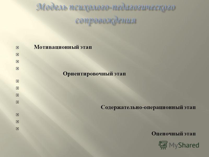 Мотивационный этап Ориентировочный этап Содержательно - операционный этап Оценочный этап
