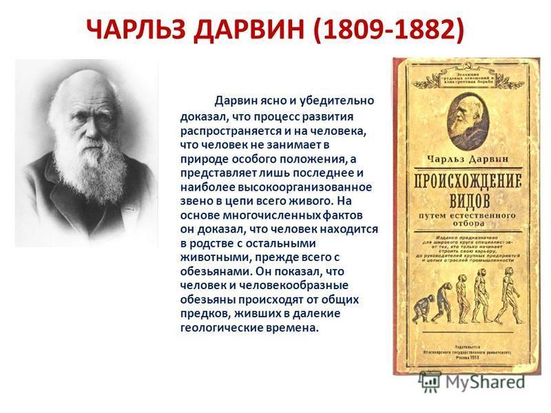 ЧАРЛЬЗ ДАРВИН (1809-1882) Дарвин ясно и убедительно доказал, что процесс развития распространяется и на человека, что человек не занимает в природе особого положения, а представляет лишь последнее и наиболее высокоорганизованное звено в цепи всего жи