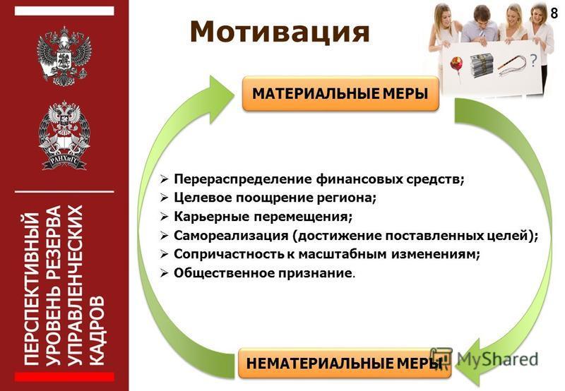 Перераспределение финансовых средств; Целевое поощрение региона; Карьерные перемещения; Самореализация (достижение поставленных целей); Сопричастность к масштабным изменениям; Общественное признание. Мотивация МАТЕРИАЛЬНЫЕ МЕРЫ НЕМАТЕРИАЛЬНЫЕ МЕРЫ 8