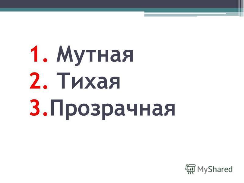 1. Мутная 2. Тихая 3.Прозрачная
