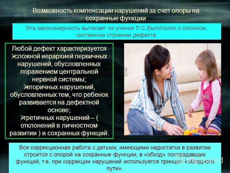 Любой дефект характеризуется сложной иерархией первичных нарушений, обусловленных поражением центральной нервной системы; вторичных нарушений, обусловленных тем, что ребенок развивается на дефектной основе; третичных нарушений – ( отклонений в личнос