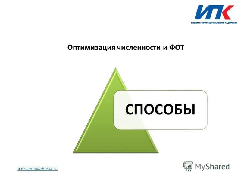 www.profkadrovik.ru Оптимизация численности и ФОТ СПОСОБЫ