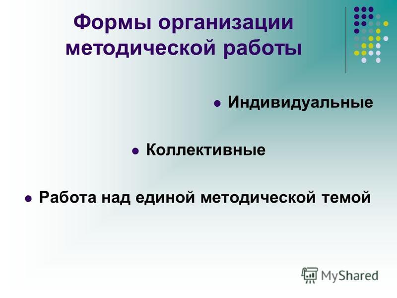Формы организации методической работы Индивидуальные Коллективные Работа над единой методической темой