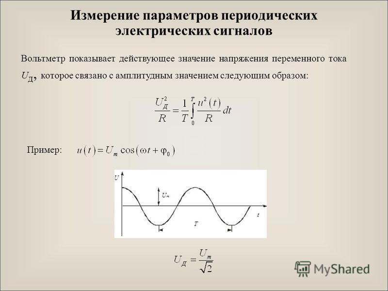 Измерение параметров периодических электрических сигналов Вольтметр показывает действующее значение напряжения переменного тока U д, которое связано с амплитудным значением следующим образом: Пример: