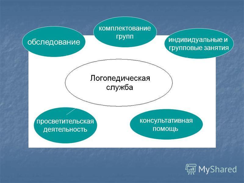 обследование комплектование групп консультативная помощь просветительская деятельность индивидуальные и групповые занятия