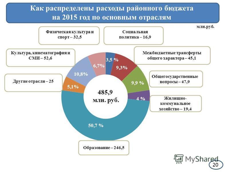Как распределены расходы районного бюджета на 2015 год по основным отраслям млн.руб. Образование – 246,5 Жилищно- коммунальное хозяйство – 19,4 4 % 9,9 % Общегосударственные вопросы – 47,9 Межбюджетные трансферты общего характера – 45,1 3,5 % Социаль