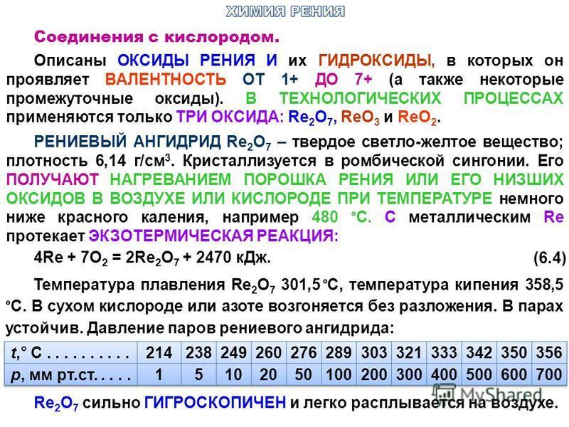 Соединения с кислородом. Описаны ОКСИДЫ РЕНИЯ И их ГИДРОКСИДЫ, в которых он проявляет ВАЛЕНТНОСТЬ ОТ 1+ ДО 7+ (а также некоторые промежуточные оксиды). В ТЕХНОЛОГИЧЕСКИХ ПРОЦЕССАХ применяются только ТРИ ОКСИДА: Re 2 О 7, ReO 3 и ReО 2. РЕНИЕВЫЙ АНГИД