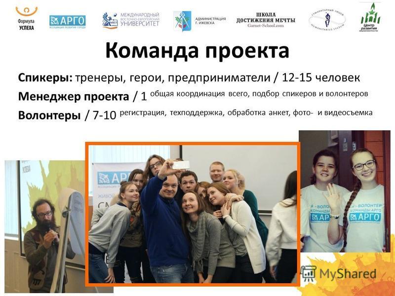 Команда проекта Спикеры: тренеры, герои, предприниматели / 12-15 человек Менеджер проекта / 1 общая координация всего, подбор спикеров и волонтеров Волонтеры / 7-10 регистрация, техподдержка, обработка анкет, фото- и видеосъемка