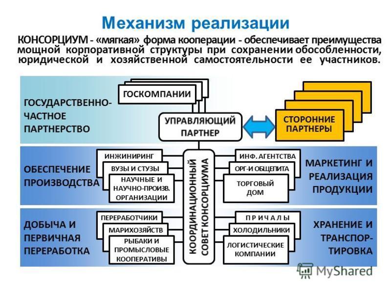 Механизм реализации КОНСОРЦИУМ - «мягкая» форма кооперации - обеспечивает преимущества мощной корпоративной структуры при сохранении обособленности, юридической и хозяйственной самостоятельности ее участников. ГОСУДАРСТВЕННО- ЧАСТНОЕ ПАРТНЕРСТВО ОБЕС