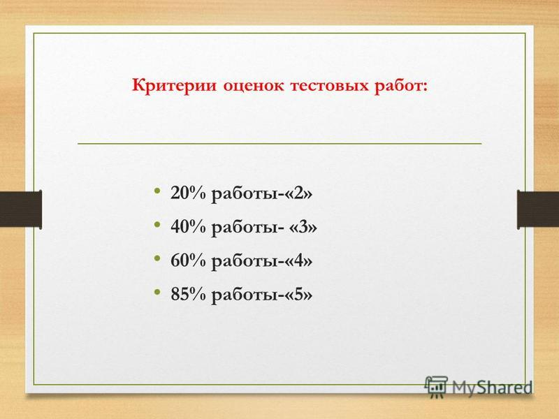 Критерии оценок тестовых работ: 20% работы-«2» 40% работы- «3» 60% работы-«4» 85% работы-«5»