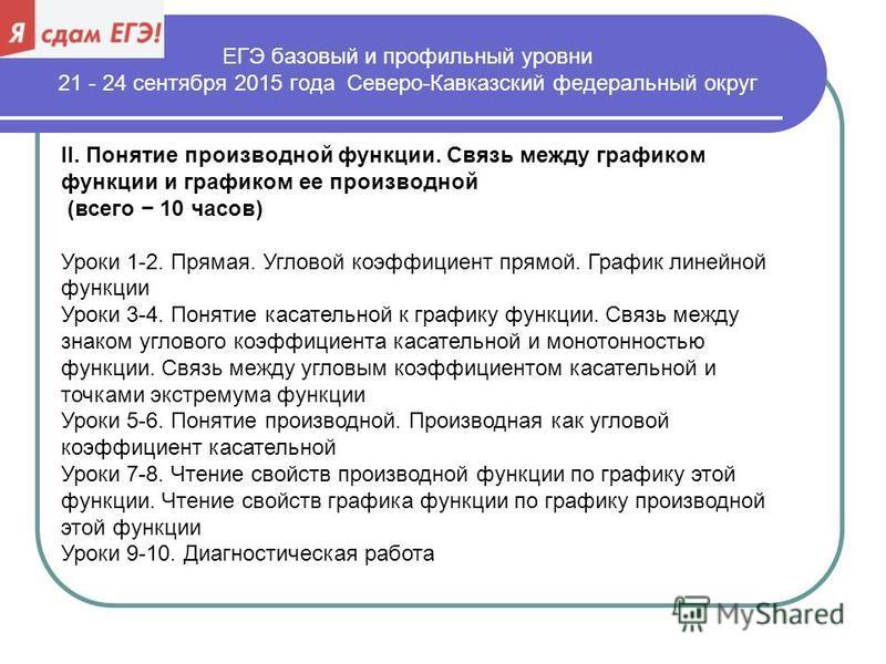 ЕГЭ базовый и профильный уровни 21 - 24 сентября 2015 года Северо-Кавказский федеральный округ II. Понятие производной функции. Связь между графиком функции и графиком ее производной (всего 10 часов) Уроки 1-2. Прямая. Угловой коэффициент прямой. Гра