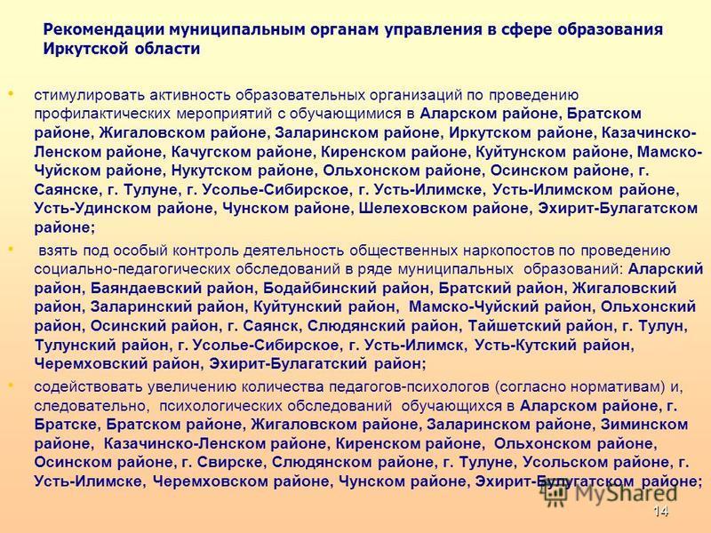 Рекомендации муниципальным органам управления в сфере образования Иркутской области стимулировать активность образовательных организаций по проведению профилактических мероприятий с обучающимися в Аларском районе, Братском районе, Жигаловском районе,