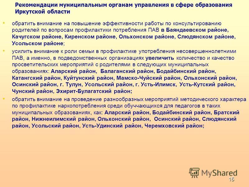 Рекомендации муниципальным органам управления в сфере образования Иркутской области обратить внимание на повышение эффективности работы по консультированию родителей по вопросам профилактики потребления ПАВ в Баяндаевском районе, Качугском районе, Ки