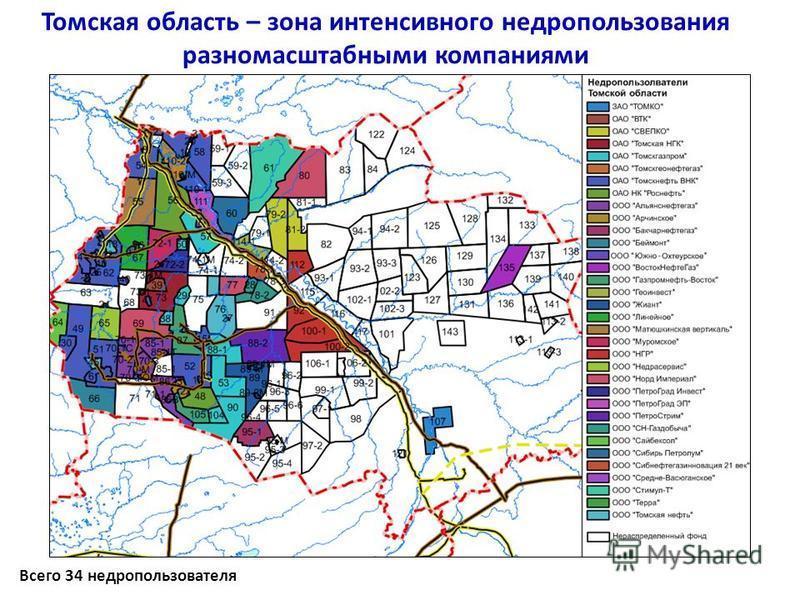 Всего 34 недропользователя Томская область – зона интенсивного недропользования разномасштабными компаниями